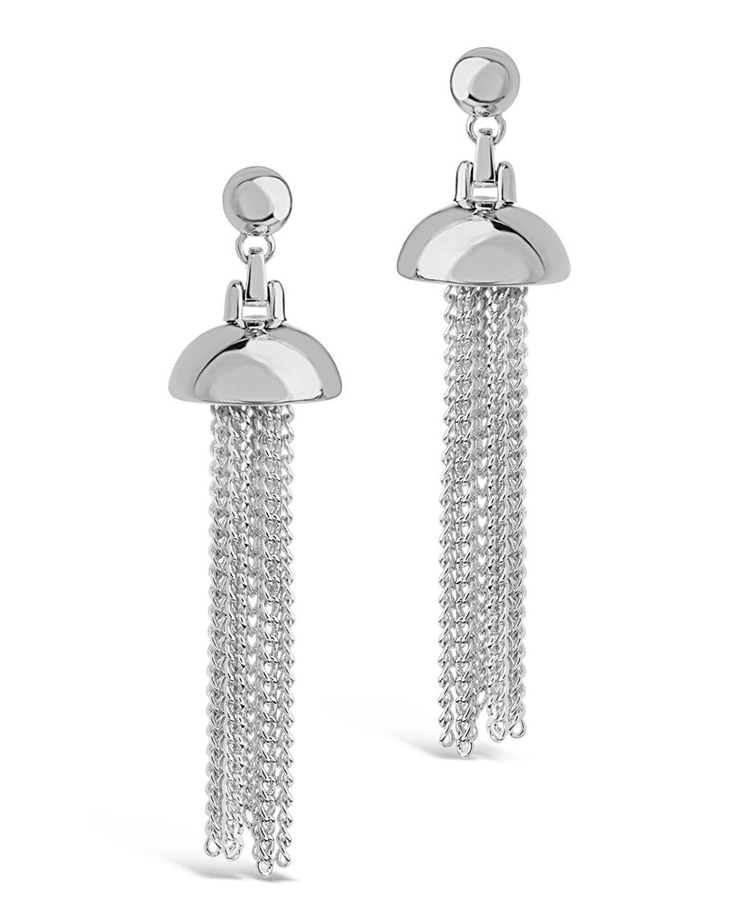 Chain Tassel Dangle Studs Earring Sterling Forever Silver