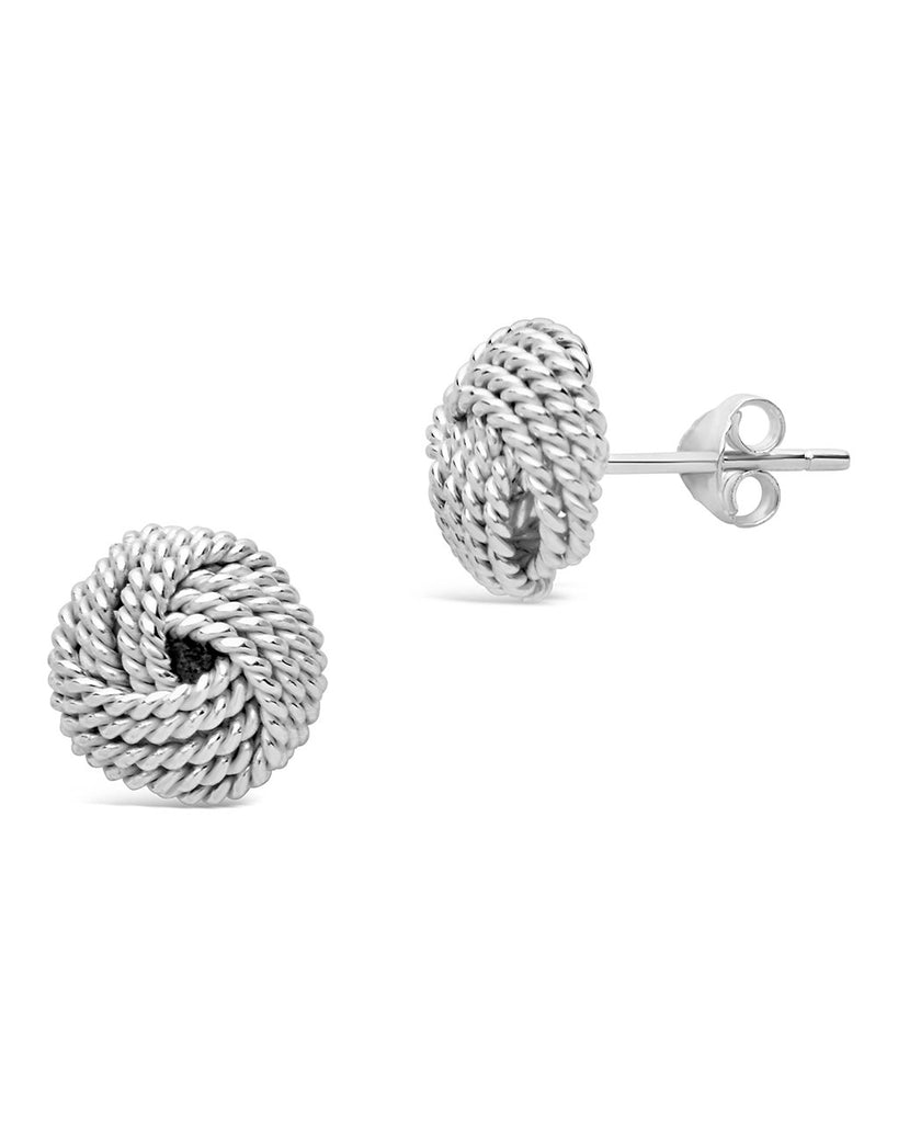 Sterling Silver Textured Knot Mesh Earrings - Sterling Forever