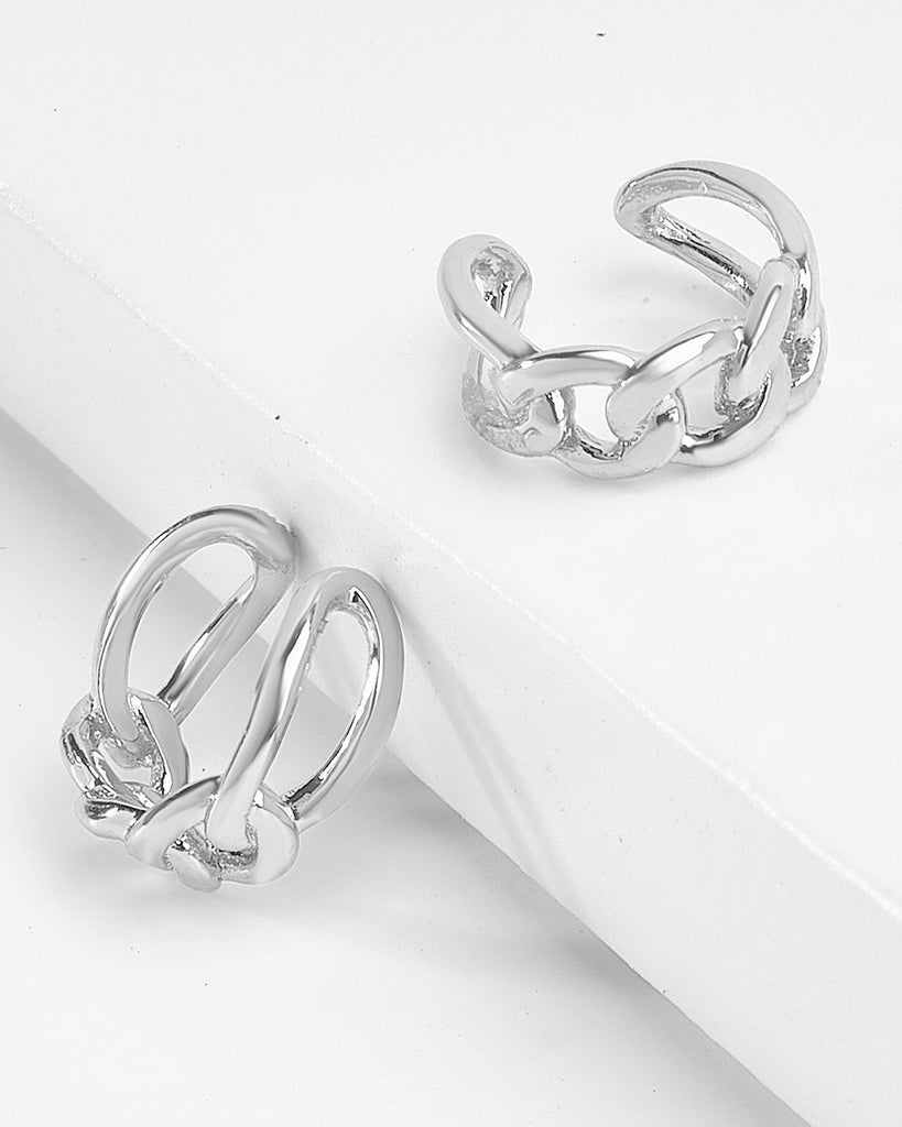 Sterling Silver Figaro Chain Ear Cuffs Earring Sterling Forever Silver