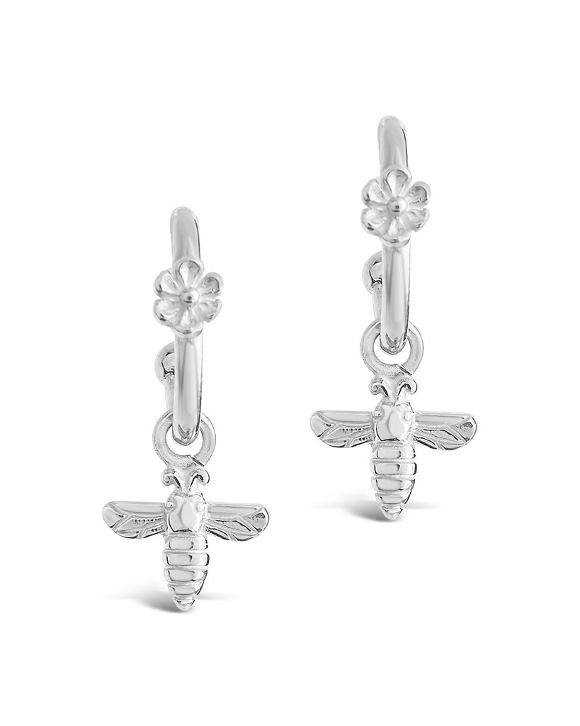 Sterling Silver Bee & Daisy Stud Hoops Earring Sterling Forever