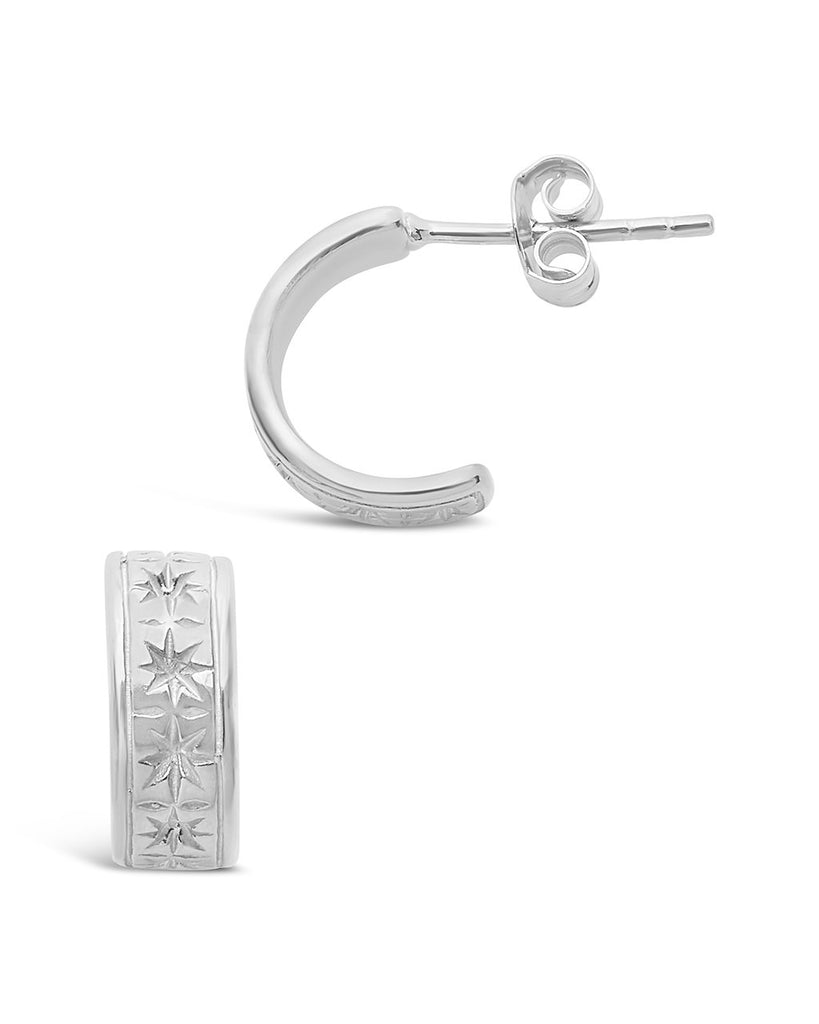 Sterling Silver Star Huggie Hoops Earring Sterling Forever