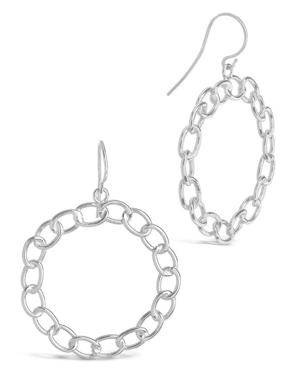 Sterling Silver Chain Link Circle Dangle Earrings Earring Sterling Forever