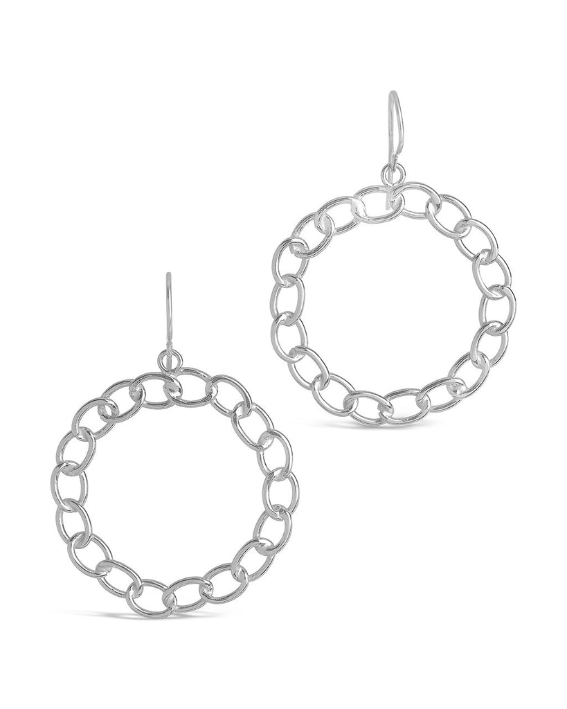 Sterling Silver Chain Link Circle Dangle Earrings Earring Sterling Forever Silver