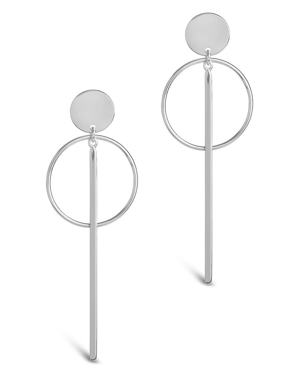 Sterling Silver Circle & Bar Drop Studs Earring Sterling Forever Silver