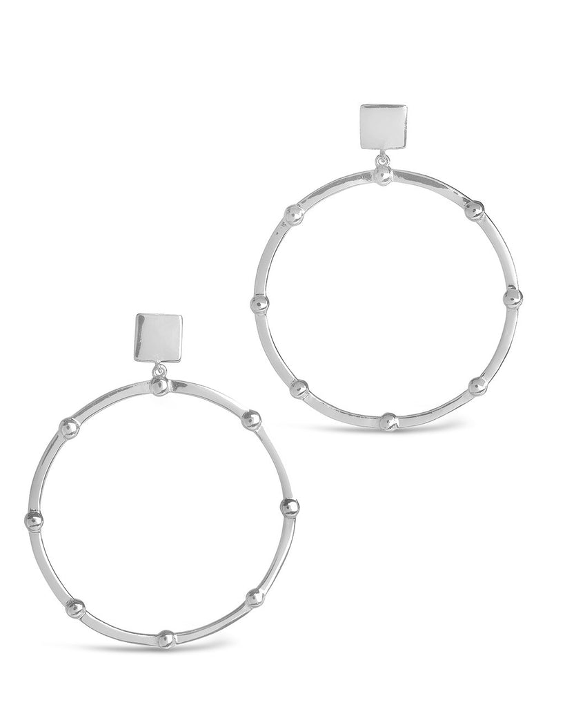 Sterling Silver Beaded Stud Hoops Earring Sterling Forever Silver