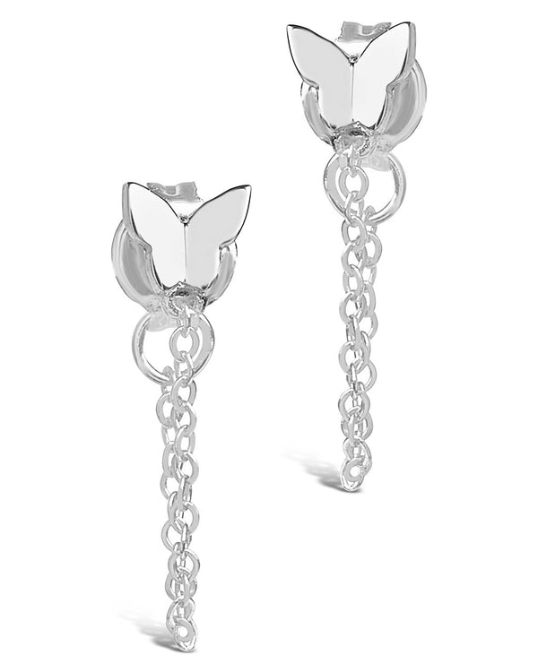 Sterling Silver Butterfly Studs with Chain Drop Earring Sterling Forever Silver