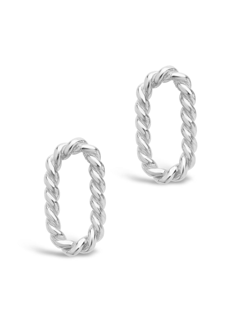 Sterling Silver Braided Oval Studs Earring Sterling Forever Silver