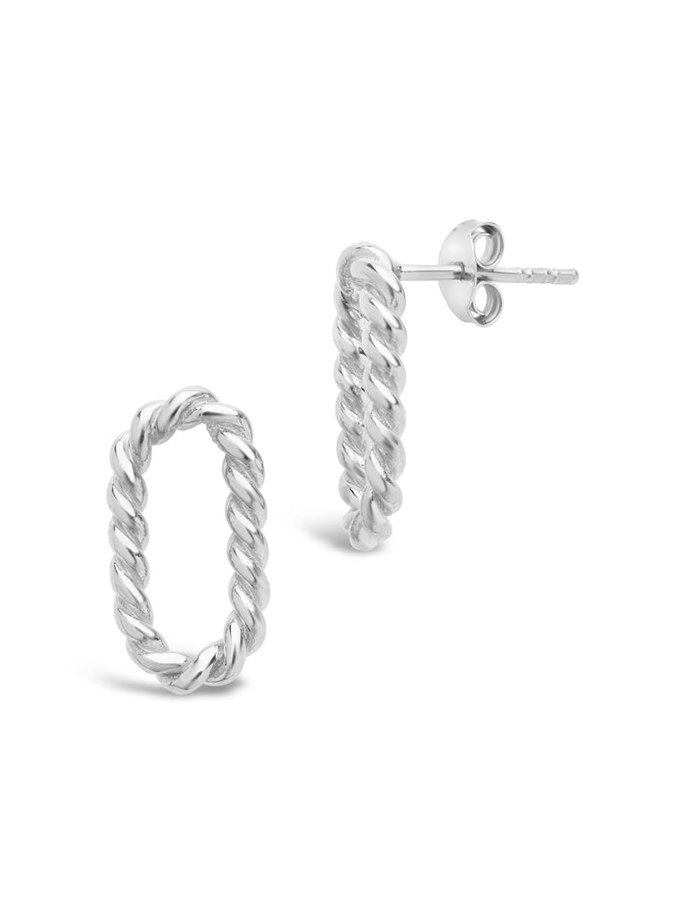 Sterling Silver Braided Oval Studs Earring Sterling Forever