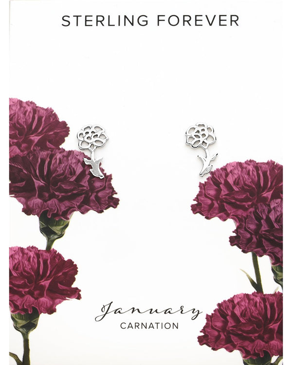 Sterling Silver Birth Flower Studs Earring Sterling Forever Silver January / Carnation