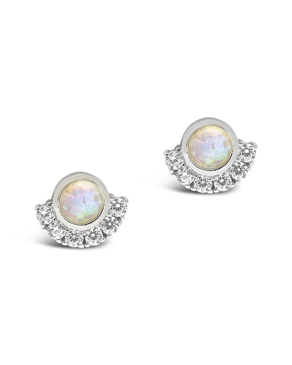 Sterling Silver Half Halo Opal Studs Earring Sterling Forever Silver