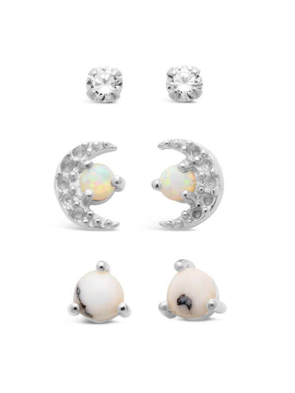 Sterling Silver CZ, Marble, & Opal Crescent Stud Set of 3 Earring Sterling Forever Silver