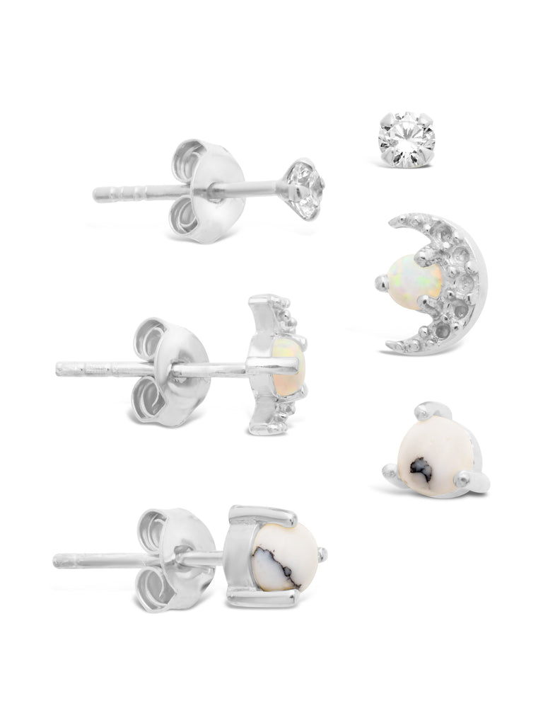 Sterling Silver CZ, Marble, & Opal Crescent Stud Set of 3 Earring Sterling Forever