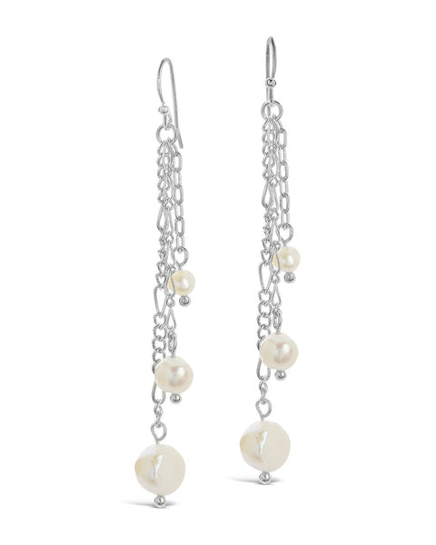 Mixed Chain Link Pearl Dangle Earrings - Sterling Forever