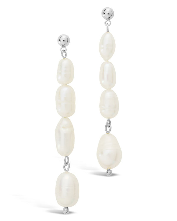 Long Pearl Dangle Stud Earrings - Sterling Forever