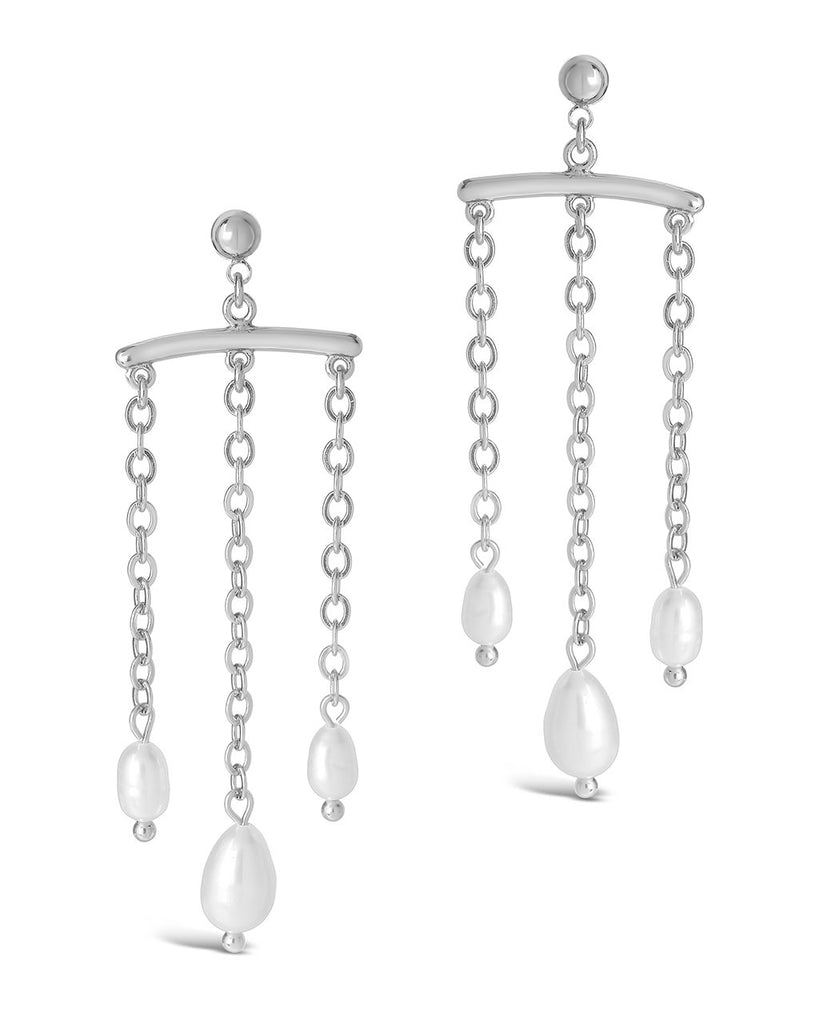 Chains & Pearls Chandelier Drop Earrings Earring Sterling Forever Silver