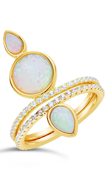 Eyes Ablaze 2pc Teardrop Ring Set Ring Sterling Forever Gold 5