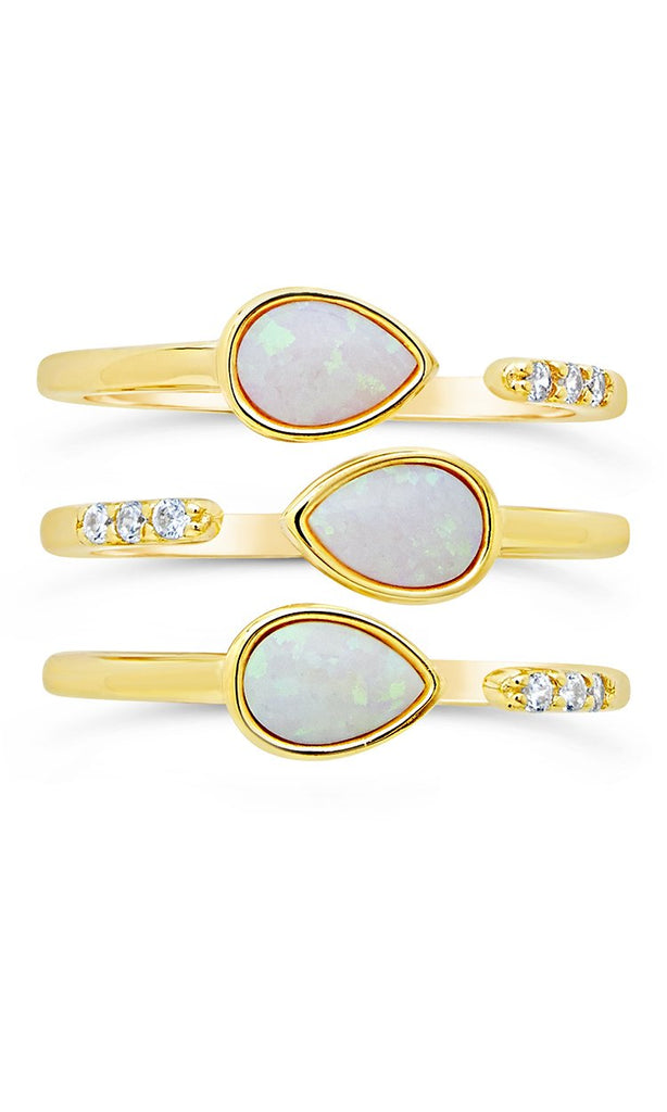 Eyes Ablaze 3pc Teardrop Ring Set - Sterling Forever