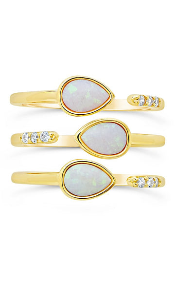 Eyes Ablaze 3pc Teardrop Ring Set