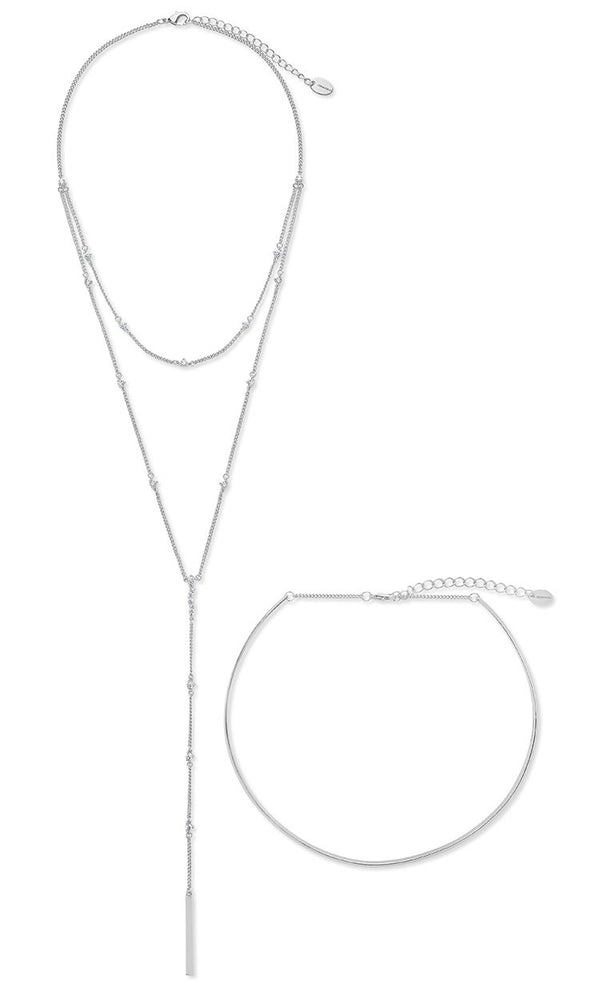 Faye Solid Collar with Y Necklace - Sterling Forever