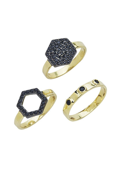 GEO DAZE 3 PIECE RING SET