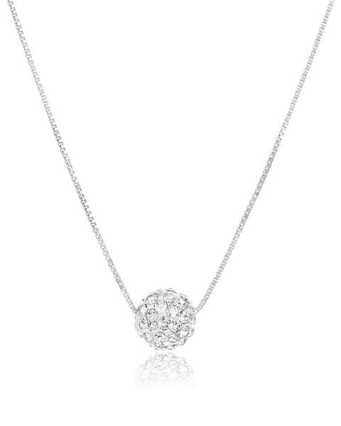 CZ Sparkling Sphere Pendant Necklace Sterling Forever Silver