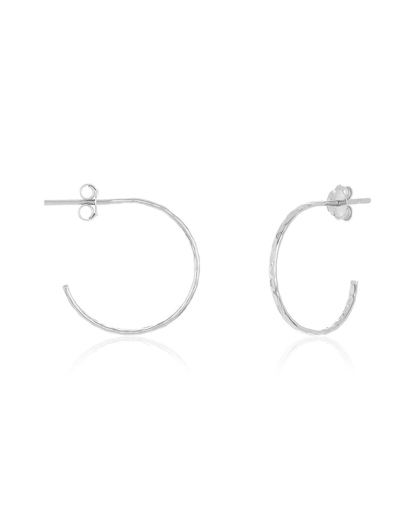 Sterling Silver Mini Hammered Hoops - Sterling Forever