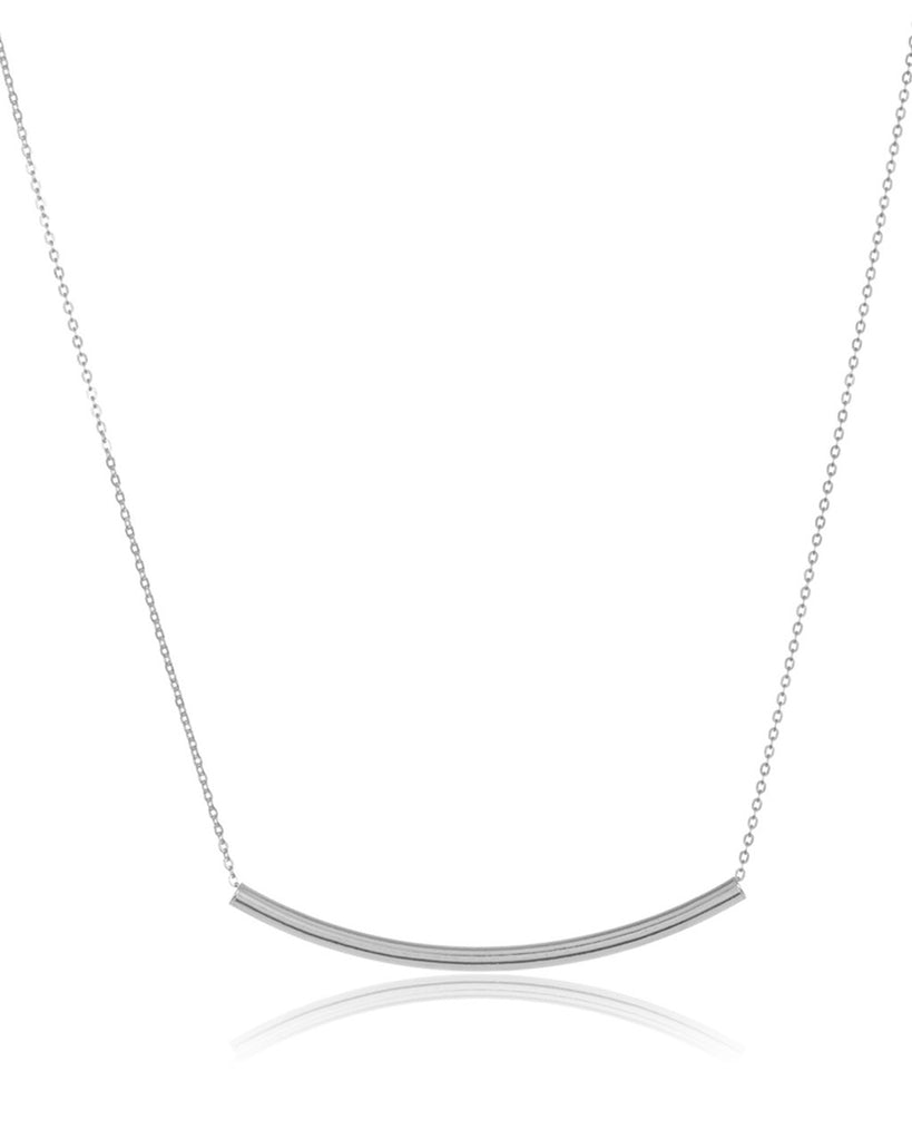 Sterling Silver Curved Bar Pendant Necklace - Sterling Forever