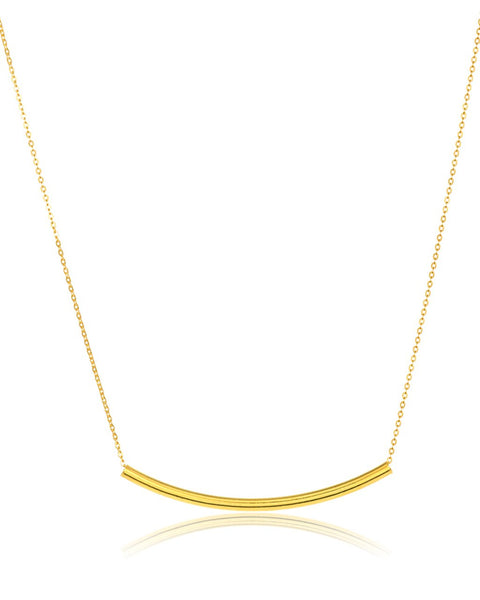 Sterling Silver Curved Bar Pendant Necklace Necklace Sterling Forever Gold