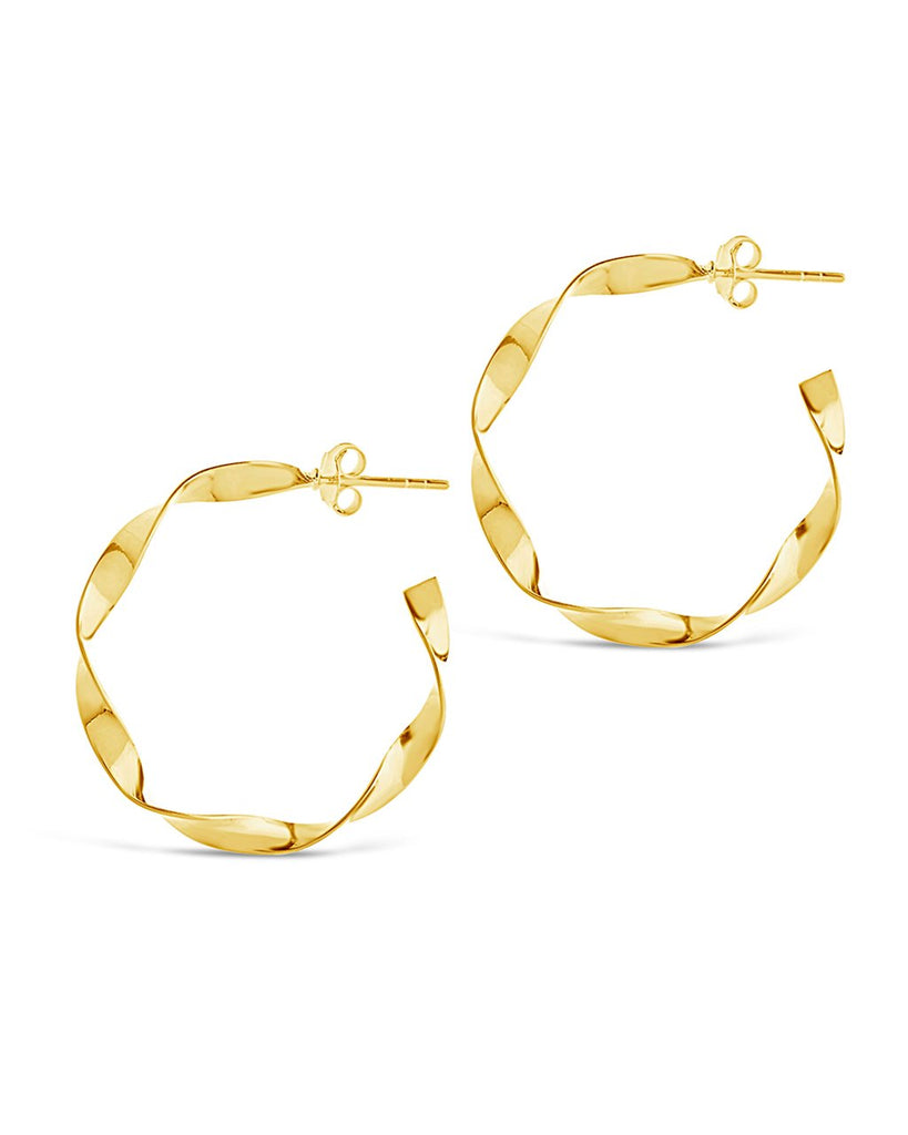 Sterling Silver Twisted Hoop Earrings - Sterling Forever