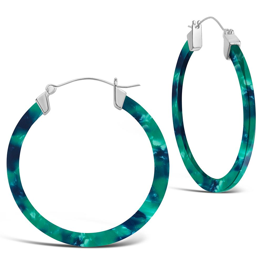 50mm Silver Resin Hoop Earrings - Sterling Forever