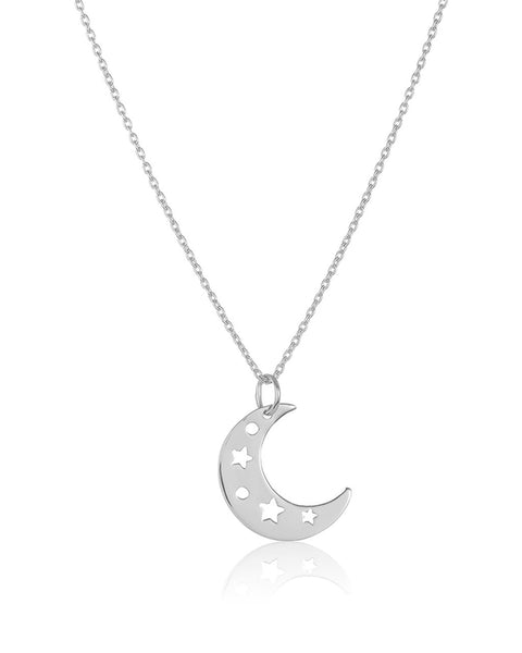 Sterling Silver Moon Charm Pendant Necklace Necklace Sterling Forever Silver