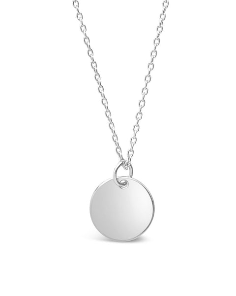 Sterling Silver Disk Charm Necklace - Sterling Forever