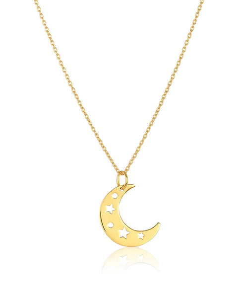 Sterling Silver Moon Charm Pendant Necklace
