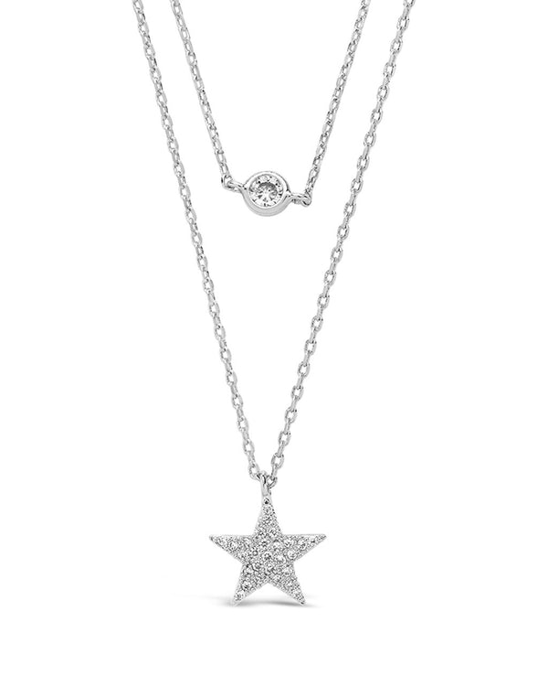 Sterling Silver Star Pendant CZ Layered Necklace - Sterling Forever