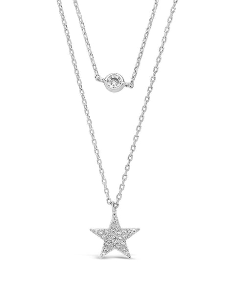 Sterling Silver Star Pendant CZ Layered Necklace