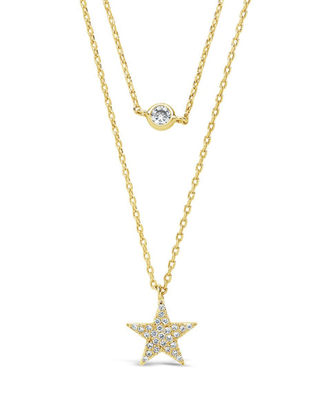 Sterling Silver Star Pendant CZ Layered Necklace Necklace Sterling Forever Gold
