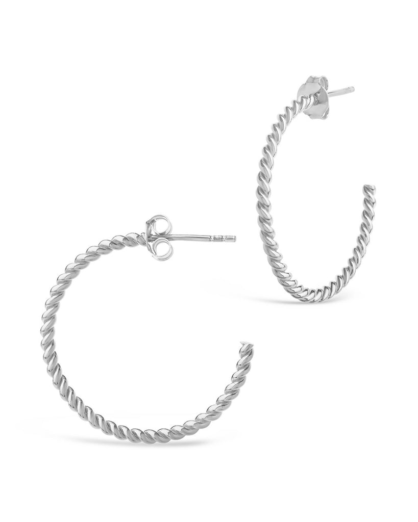 Sterling Silver Rope Hoops Earring Sterling Forever Silver 1""