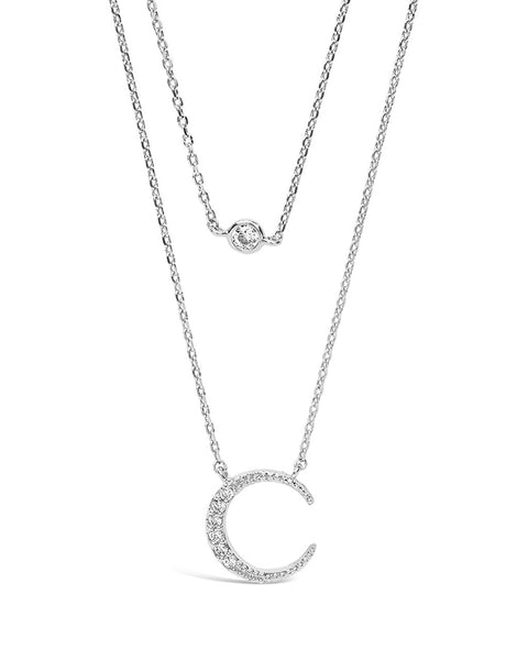 Sterling Silver Crescent Pendant CZ Layered Necklace Necklace Sterling Forever Silver