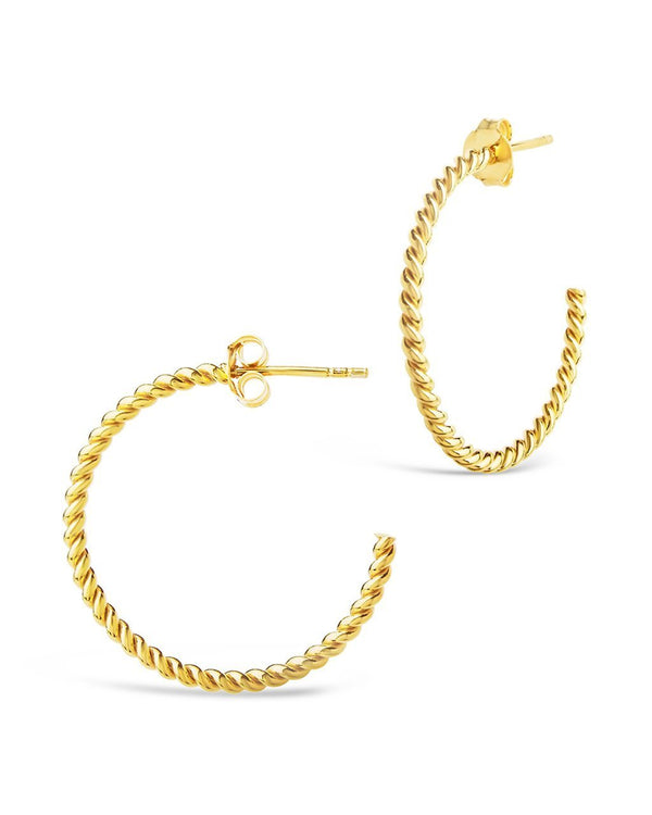 Sterling Silver Rope Hoops Earring Sterling Forever Gold 1""