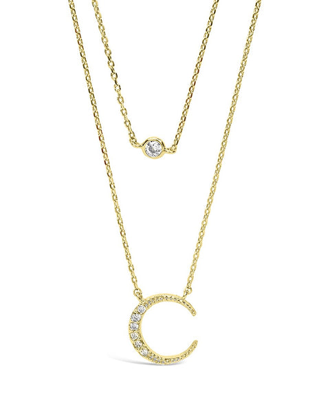 Sterling Silver Crescent Pendant CZ Layered Necklace Necklace Sterling Forever Gold