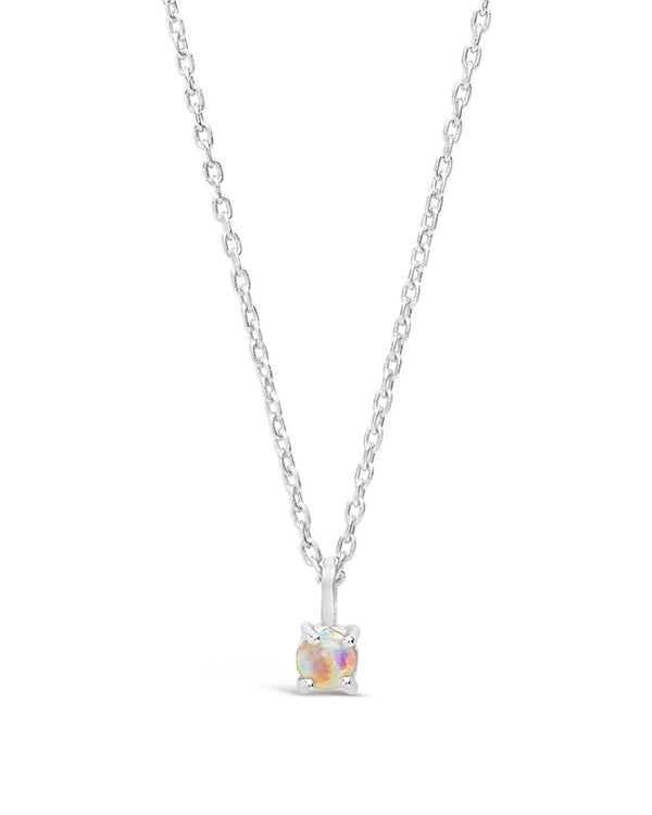 Sterling Silver Mini Opal Pendant Necklace - Sterling Forever