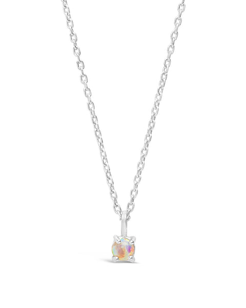 Sterling Silver Mini Opal Pendant Necklace Necklace Sterling Forever Silver