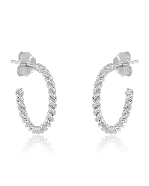 "Sterling Silver 0.5"" Rope Hoop Earrings - Sterling Forever"
