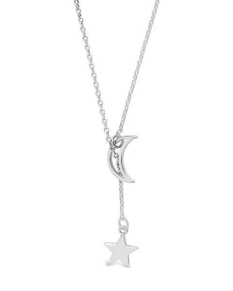 Sterling Silver Moon & Star Lariat Necklace Necklace Sterling Forever Silver