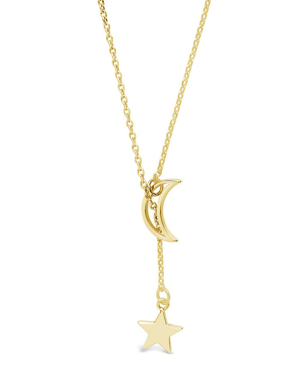 Sterling Silver Moon & Star Lariat Necklace - Sterling Forever