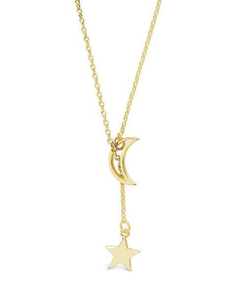 Sterling Silver Moon & Star Lariat Necklace Necklace Sterling Forever Gold
