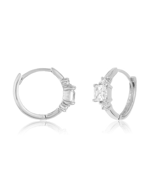 Sterling Silver CZ Princess Huggie Hoops - Sterling Forever