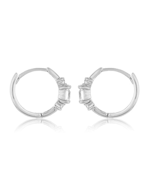 Sterling Silver CZ Princess Huggie Hoops