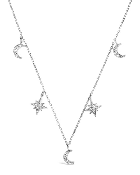 Sterling Silver CZ Moon & Burst Charm Necklace