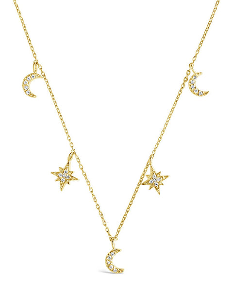 Sterling Silver CZ Moon & Burst Charm Necklace Necklace Sterling Forever Gold